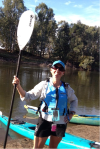 With paddle in hand ready to kayak the Murrumbidgee River